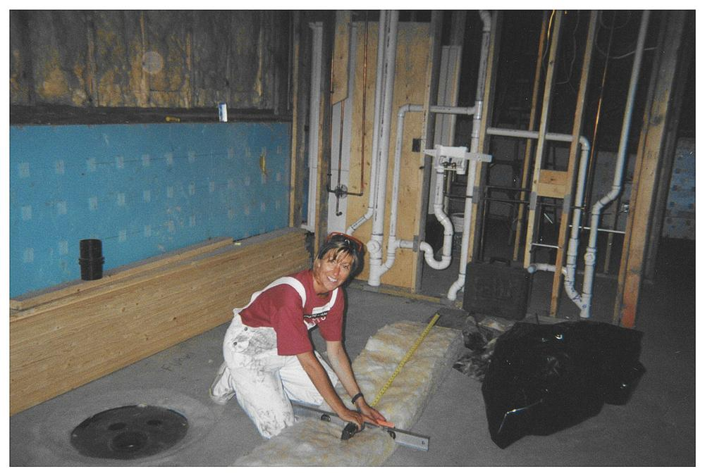 Barb Peppersack working on a Habitat for Humanity home in 2000